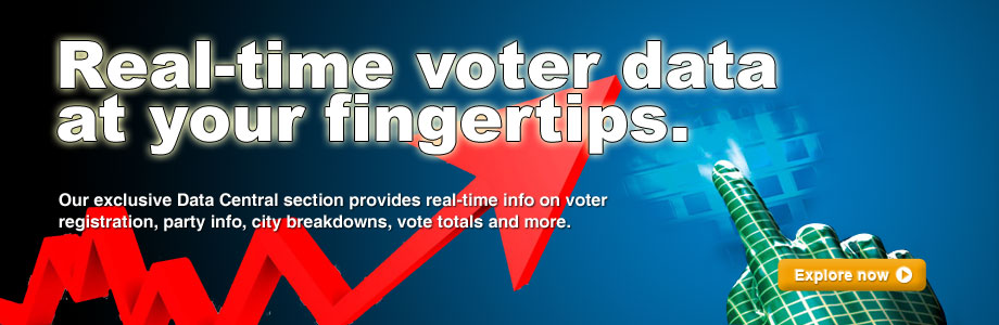 Real-time voter data at your finger tips. Our exclusive Data Central section provides real-time info on voter registration, party info, city breakdowns, vote totals and more.